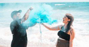 blue color powder gender reveal