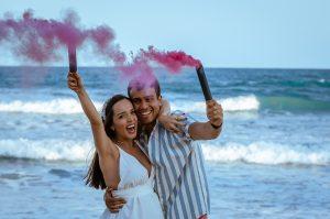 pink color powder gender reveal